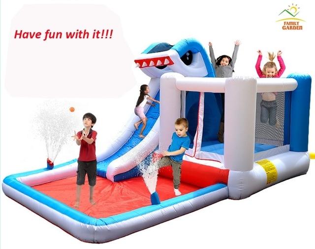 kids inflatable shark water slide bounce house jumper bouncer jump bouncy castle - Water Slide Bounce House