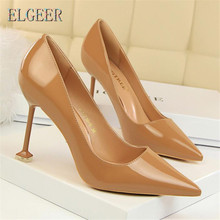 New Fashion simple fine with high-heeled patent leather shallow mouth pointed sexy nightclub thin single shoes women high heels цена в Москве и Питере