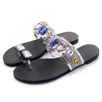 Women Summer Slippers Crystal Flat Shoes Clip Toe Transparent Ladies Shoes 2019 New Outdoor Slides Rhinestone Fashion Shoes