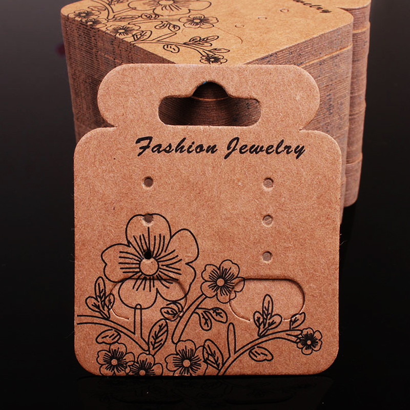 4.9x5.7cm 200Pcs/lot Kraft Paper Jewelry Card Display Cards New Hort Jewelry Earring Cards Display Packaging H056