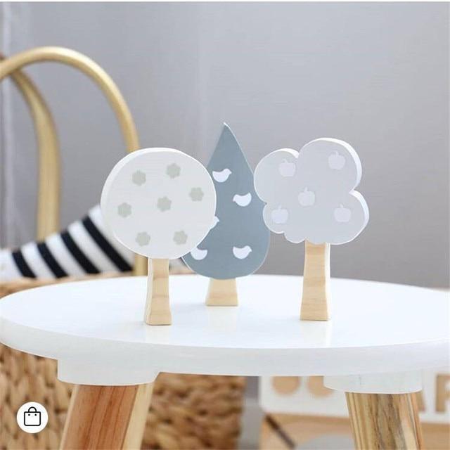 3 pçs/set INS Árvores De Madeira Nórdica Enfeites Bloco Decoração do Quarto Dos Miúdos de Madeira Blocos de Construção de Brinquedos Presentes Do Bebê Do Berçário Decoração Adereços