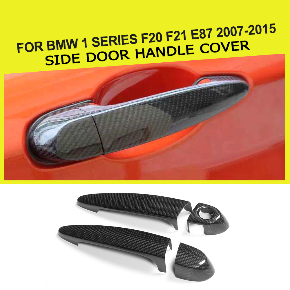 2 Door Carbon fiber Car Side Door Handle Cover With LED Hole for BMW 1 Series F20 F21 E87 2007-2015 for nissan r35 gtr oem carbon fiber outer door handle cover pull surround 2pcs