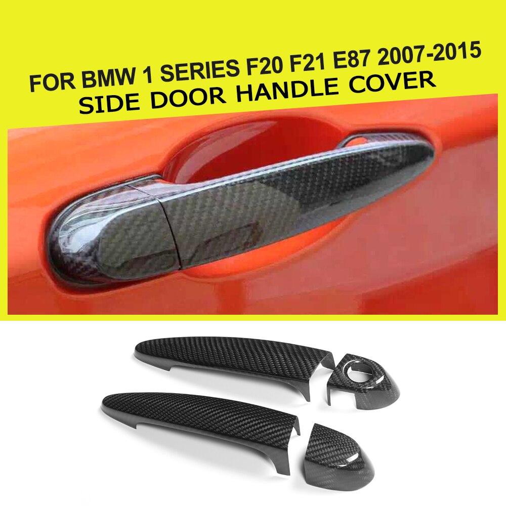 2 двери волокна стороны двери автомобиля карбоновая ручка крышки со светодиодом отверстие для BMW 1 серии f20 клавиши f21 Е87 2007-2015