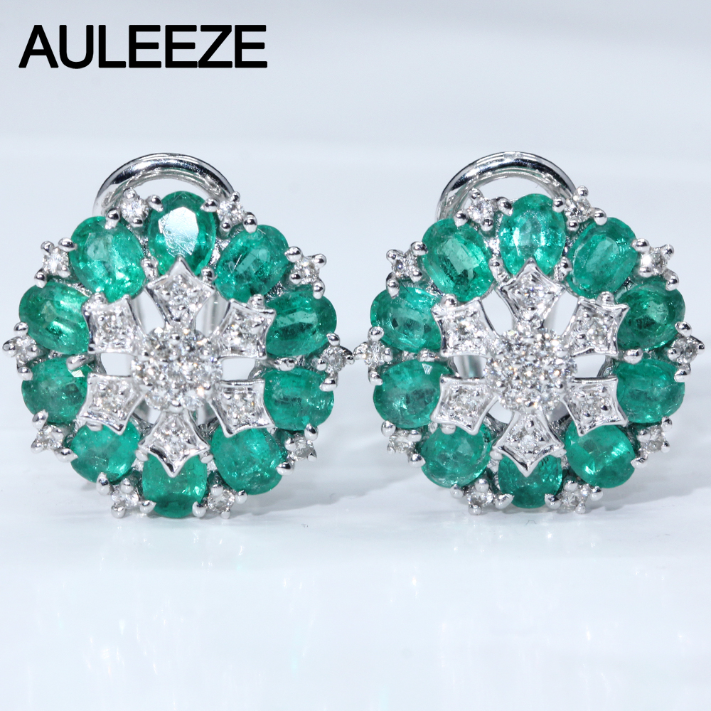 Oval Cut Natural Emerald Gemstone Jewelry 14K White Gold Clip Earrings For Women Natural Real Diamond Wedding Engagement Earring