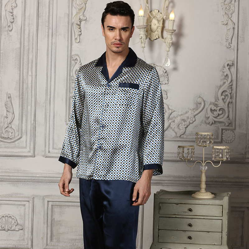 Sexy Genuine Silk Men's Pajamas 100% Silkworm Silk Sleepwear Male Fashion Printed Long-Sleeve Pyjama Pants Two-Piece Sets 51233