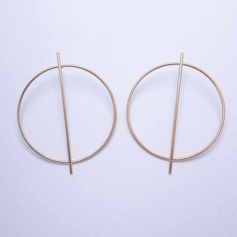 2019 New Fashion Simple Gold Color Silver Geometric Big Round Earrings for Women Circle Drop Earrings Statement Brincos Jewelry