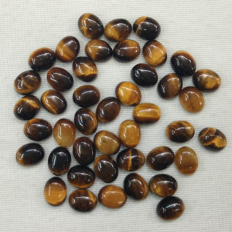 2016 Fashion hot sale natural tiger eye stone Oval CAB CABOCHON 8x10mm beads charm for jewelry making wholesale 50pcs/lot free