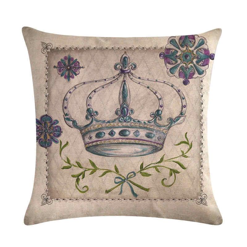 45 cm * 45 cm Die krone der antiken design leinen/baumwolle werfen kissen deckt couch kissen abdeckung hause dekorative kissen