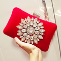 New Arrival 2017 Fashion Female Diamond Sunflower Diamond Evening Bag Luxury Day Clutch Purse Wedding Party Bag With Chain