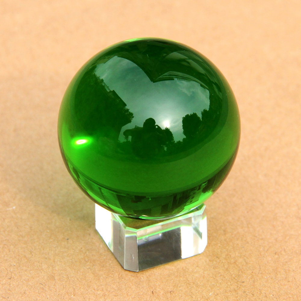 Pretty Green Color Rare Glass Ball 60mm Natural Magic Healing Crystal Sphere Quartz Balls With Crystal/Wooden Remove Stand Craft