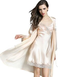 Image 1 - 2019 Summer 100% Real Silk Womens Robe & Gown Sets Sexy Two Piece Nightdress Kimono Robes Mulberry Silk Sleepwear For Women