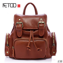 Aetoo корейской версии Рюкзак кожаный женский черный мешок плеча моды пакет