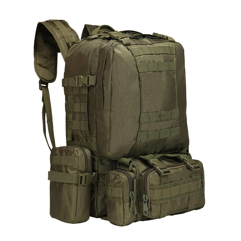 Upgraded 50L Molle Tactical Backpack Men Rucksack Outdoor Sport Bag Camping Hiking Travel Climbing Bagpack 4 in 1 Military Bags