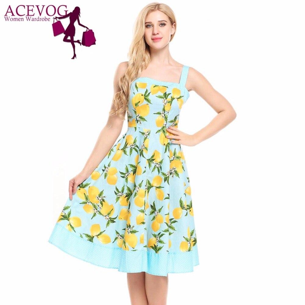 ACEVOG Mujeres Vintage 1960 s Verano Vestido de Espaguetis Correa Tanque Limón P