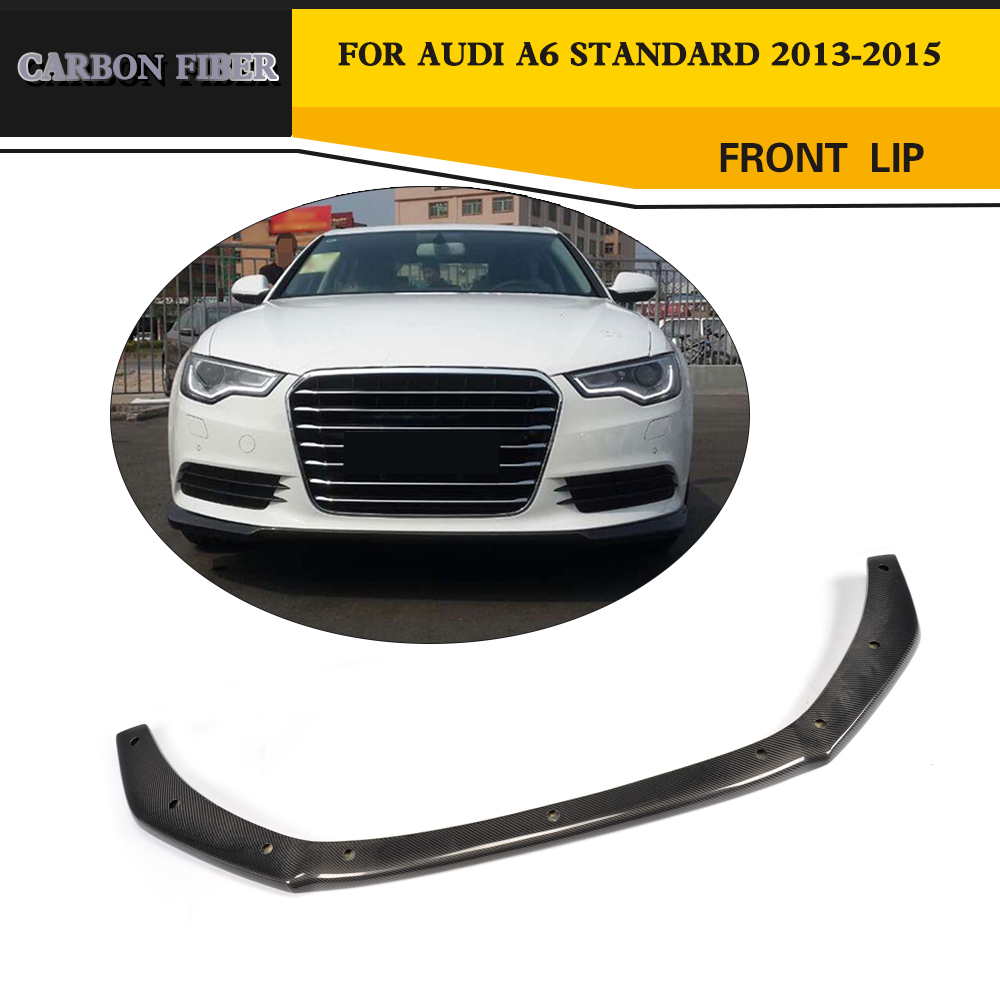 Car Styling Carbon Fiber Front Lip Bumper protector For Audi A6 C7 Sedan Santdard Bumper Only 2013-2015