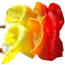 Gradiënt Kleur 100% Natuurlijke Zijde Bamboe Ribben Handgemaakte Fans Lange Fan Sluier Voor Buikdansen Accessoires Geel + Oranje + rood 3 Kleur