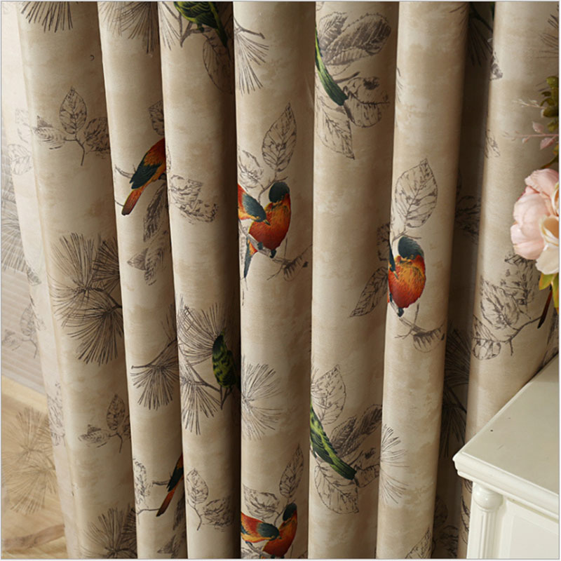 Blackout Curtains For Living Room American Rustic Decorative Kitchen Window Birds Printed Bedroom Curtains Panel