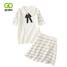 GOPLUS 2 Piece Set Women Summer Casual Turn-down Bow Pearls Knitted Short Sleeve Sweater High Waist Mini Skirt Sets Womens C8082