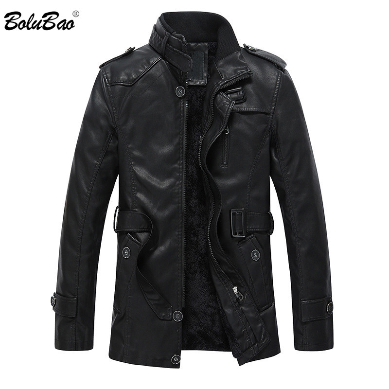 Autumn and winter quality men s leather jacket warm business casual PU leather jacket plus velvet