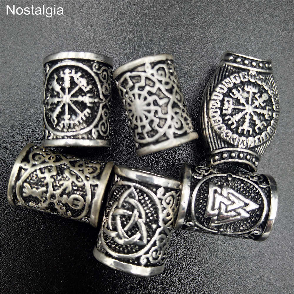 Viking Hair Rune Beads For Jewelry Making Valknut Vegvisir Compass Trinity Metal Spacer Large Hole Bead Accessories Fit Bracelet