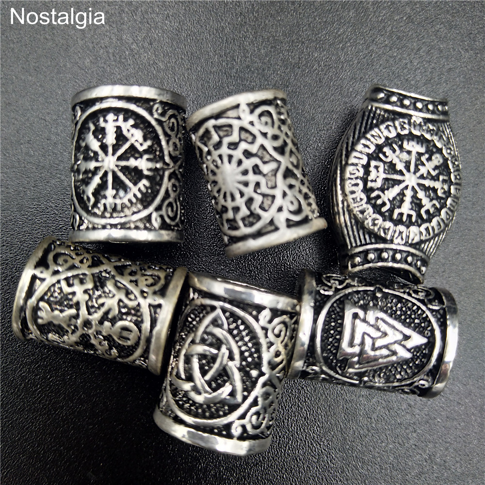 Viking Runes Beads For Jewelry Making Hair Beard Crafts Jewlery Diy Metal Spacer Large Hole Bead Accessories Fit Charm Bracelet(China)