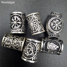 Viking Runes Beads For Jewelry Making Hair Beard Crafts Jewlery Diy Metal Spacer Large Hole Bead Accessories Fit Charm Bracelet
