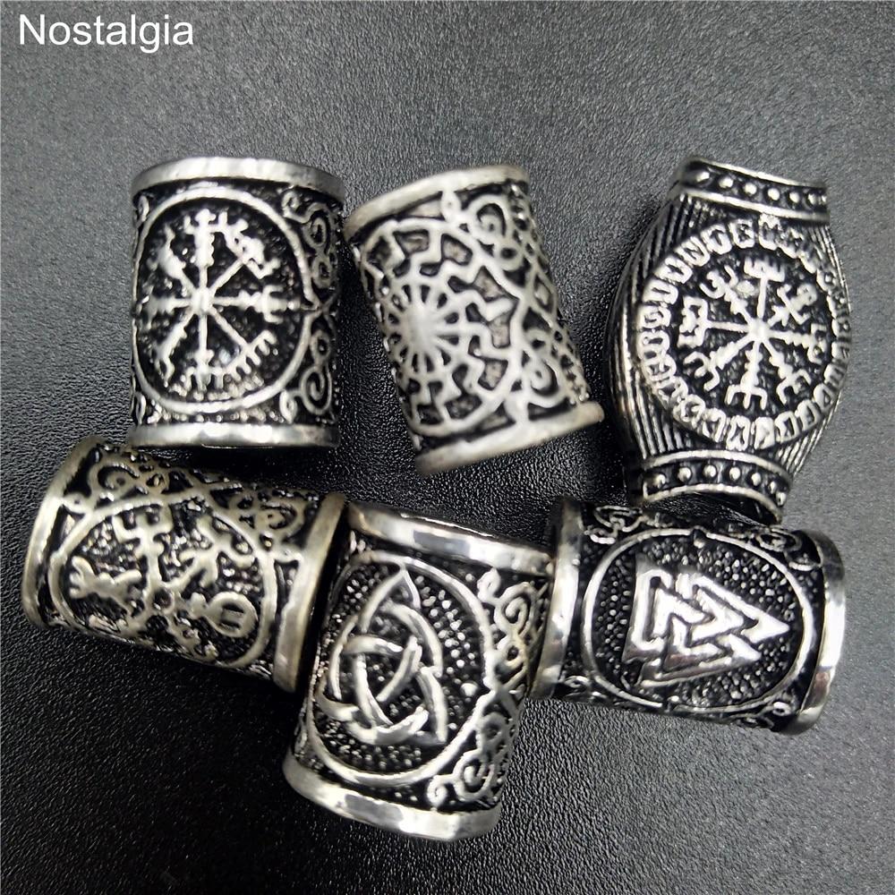 5x Retro Silver Viking Runes Hair Beads Savage Bracelets Supplies DIY Accessory