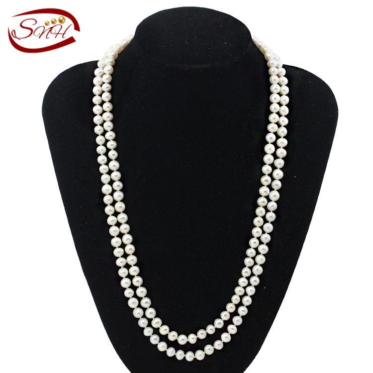 цены SNH 7-8mm near round AA120cm long100% real white freshwater pearl necklace for woman natural pearl necklace