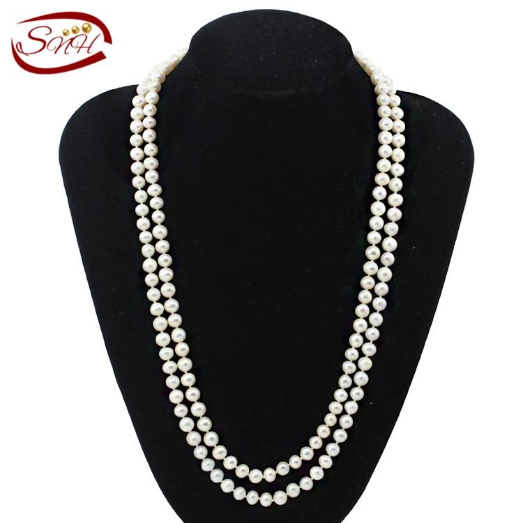 SNH 7-8mm près de rond AA120cm long100 % véritable collier de perles d'eau douce blanche pour femme collier de perles naturelles