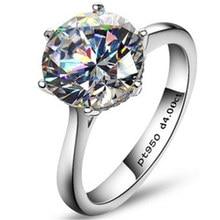 Luxury 4 Carat NSCD Simulado Anillo de Diamante Sintético para Las Mujeres de Ley 925 Anillos de Compromiso de Plata Sona Anillo de Bodas de Diamante