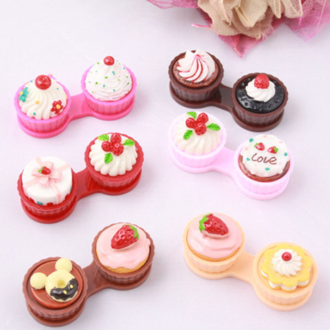 6 color Cute 1PCS Cartoon Cream Cake Glasses Double Contact Lenses Box Contact Lens Case For Eyes Care Kit Holder Container Gift