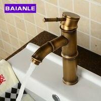 Deck Mounted Antique Brass Wealth Bamboo Faucet Bathroom Vessel Sink Mixer Tap 2016 Factory Direct Brass