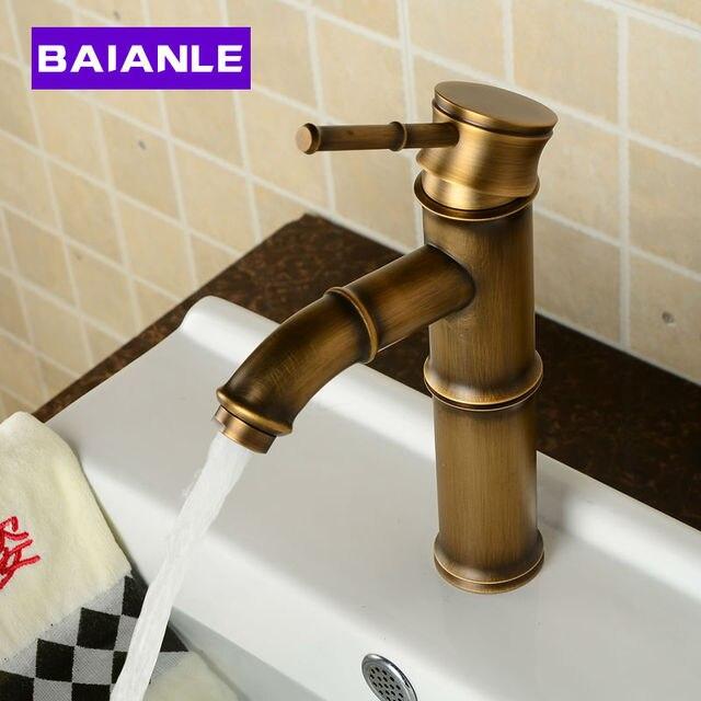 Deck Mounted Antique Brass Wealth Bamboo Basin Faucet Bathroom ...
