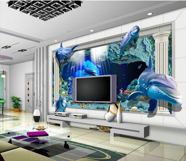 Super Wallpaper Mural Dunia Bawah Laut Istana Tv Latar Belakang Biru Tema Lukisan