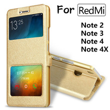 Phone Case For XiaoMi RedMi note 3 4 4X Leather Flip Cover Dual View Window Stand Holder Cases For redmi Note2/3/4/4X