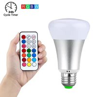 10W E27 RGBW LED Bulb Color Light RGB White Timing Function Dimmable LED Lamp With Remote