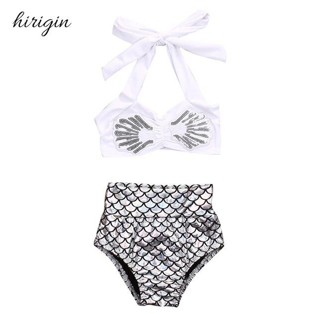 49995403b1e5a0 HIRIGIN marka 2 sztuk wagi dla dzieci bikini dziewczęce zestaw strój  kąpielowy nosić topy + figi