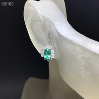 sale exquisite elegant green emerald gemstone stud earring women silver jewelry real natural gem birthday party banquet gift