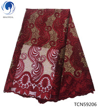 BEAUTIFICAL 2019 tissu africain lace nigerian net fabric ankara embroidery best selling for man cloth TCN592