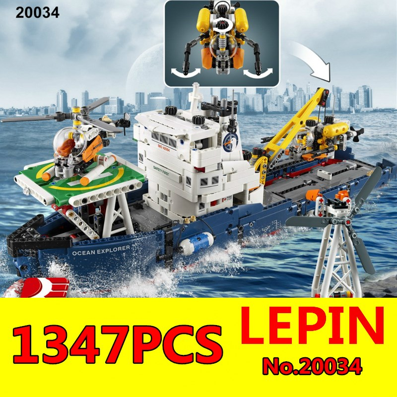 Technic Series LEPIN 20034 1347pcs Genuine New The Searching Ship Set Educational Building Blocks Bricks Toys for Children Gift new lepin 16042 pirate ship series building blocks the slient mary set children educational bricks toys model gift with 71042