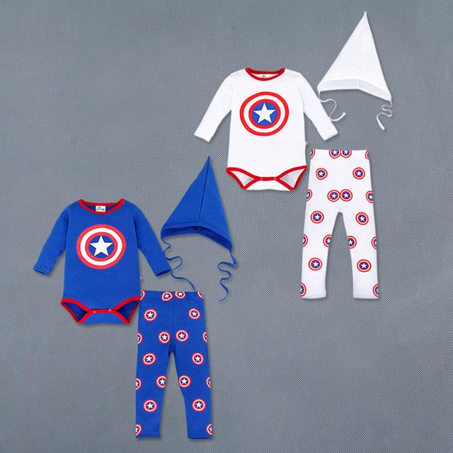2016 primavera otoño Bebé Del Mameluco Del Mono de Algodón de Manga larga Estilo Capitán América Triángulo Del Bebé Hat + Romper + pants Ropa 3 unids
