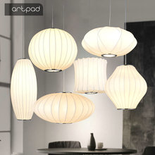 Japanese Tatami Oval Round White Pendant Light Creative Chinese Lantern Lighting LED Hanging Lamp for Dining Room Hotel