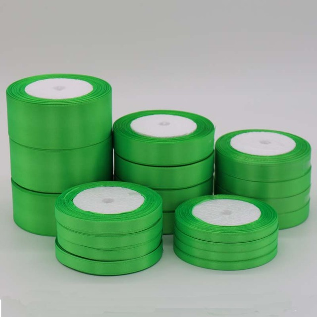 One Piece 25 Yards Green Silk Satin Ribbon For Wedding Party Decoration Gift Wrapping Apparel Accessories wholesales 6 mm-50 mm