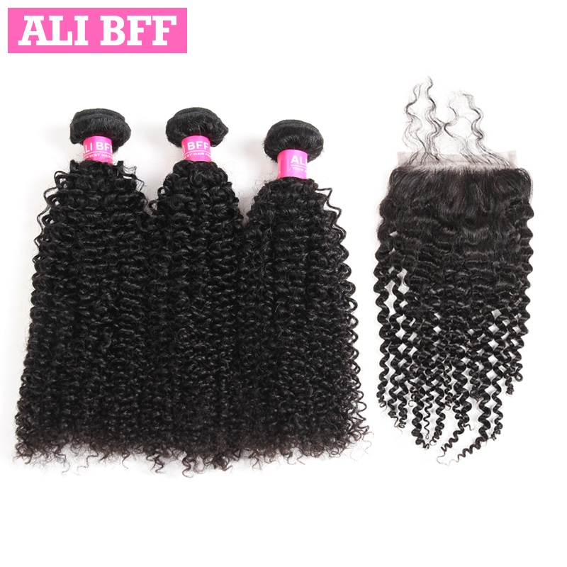 ALI BFF Brazilian Kinky Curly Hair Extensions 100% Human Hair With Lace Closure Remy Hair Weave Bundles With Closure