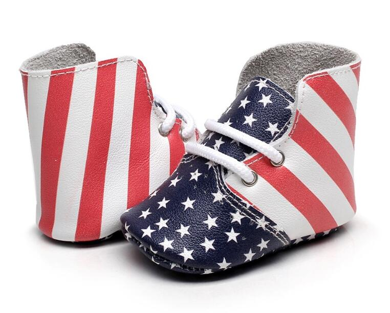 New Fashion high heel Boots USA flag airhole Design genuine leather baby moccasins lace-up soft sole booties baby boots