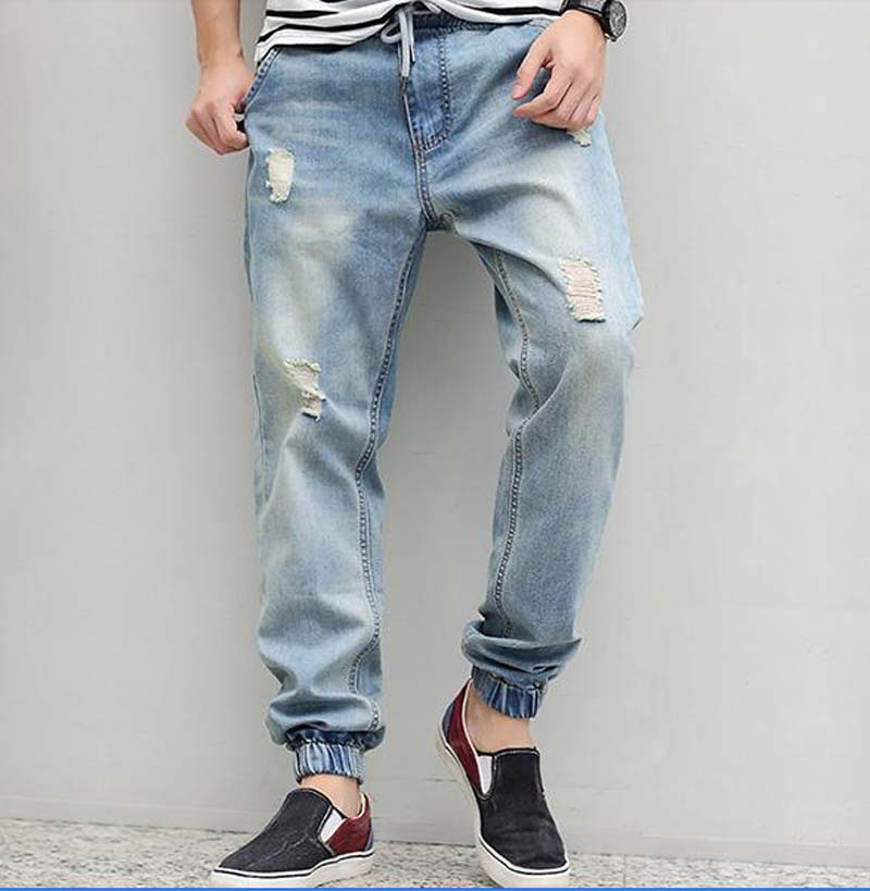 2017 new arrive Plus size elastic waist light blue men jeans male autumn spring  crotch hole loose hiphop pencil jeans