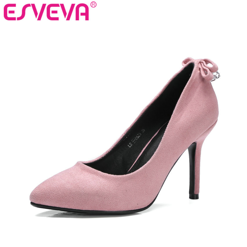ESVEVA 2017 Sweet Pink Flock Women Pumps Spring Western Party Shoes Pointed Toe Thin High Heel Wedding Women Pumps Size 34-42 new 2017 spring summer women shoes pointed toe high quality brand fashion womens flats ladies plus size 41 sweet flock t179