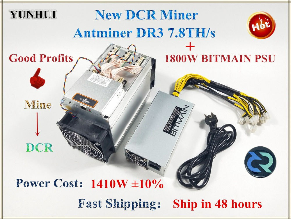 Asic DCR Miner Antminer DR3 7.8TH/S With BITMAIN APW7 1800W PSU Better Than S9 S9j WhatsMiner D1 Innosilicon D9 FFMINER IBeLink 1