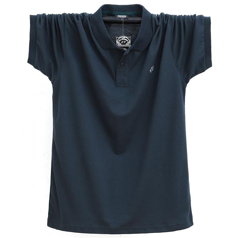 Men   Polo   Shirt Cotton Business Casual Male   Polo   Shirt Short Sleeve Breathable Classic Male   Polos   Shirts embroidery 6XL TJWLKJ