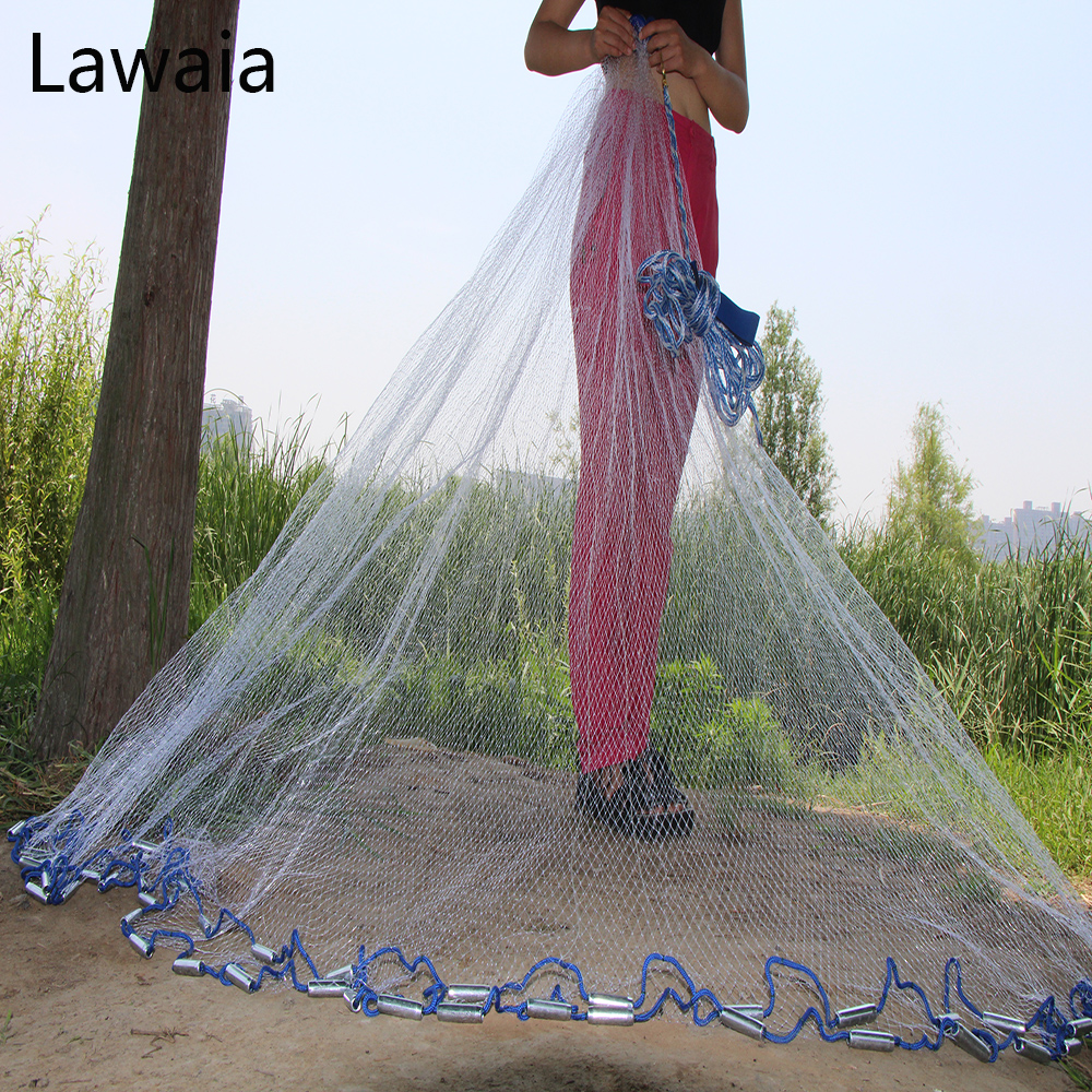 Lawaia American Hand Cast Net Diameter 2.4- 7.2m Fishing Net 4.2m Fishing Network 3m Fishing Nets Or No Pendant Fishing-nets
